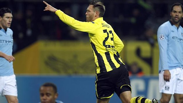 Borussia Dortmund's Julian Schieber celebrates his goal against Manchester City in the Champions League