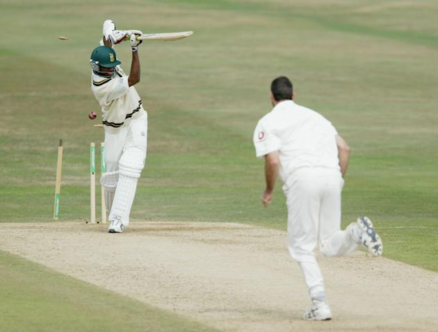 Martin Bicknell takes the wicket of Monde Zondeki