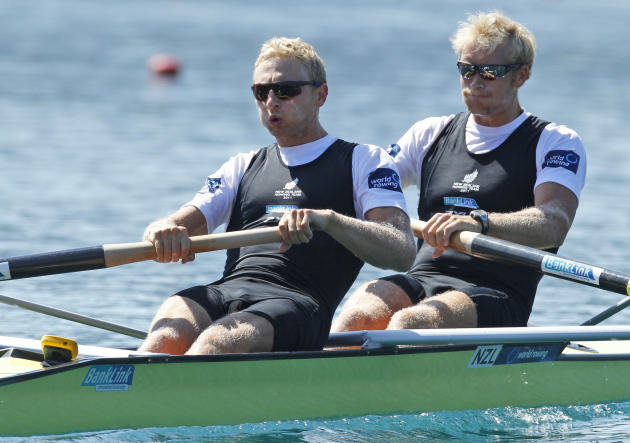 Eric Murray, right and Hamish Bond of New Zealand compete in the Men's Pair at the World Rowing Championships in Bled, Slovenia, Saturday, Sept. 3, 2011. New Zealand won the race. (AP Photo/Darko Band