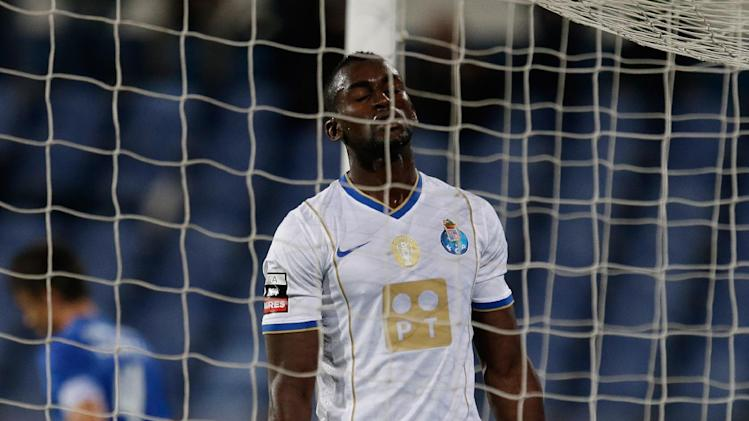 FC Porto's Jackson Martinez, from Colombia, reacts after missing a chance to score during their Portuguese league soccer match against Belenenses,  Saturday, Nov. 2 2013, in Lisbon