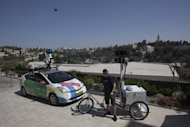 A Google Israel staffer with a camera mounted on a tricycle overlooking Jerusalem's Old City last September after the justice ministry gave the go-ahead for Google Street View to start photographing streets in Israel. The US internet giant has now launched Street View in Israel, putting on show streets and sites of interest from the Holy Land's three major cities
