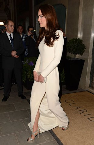 Kate Middleton Wears White Roland Mouret Gown & Jimmy Choo Heels at Claridge's Hotel