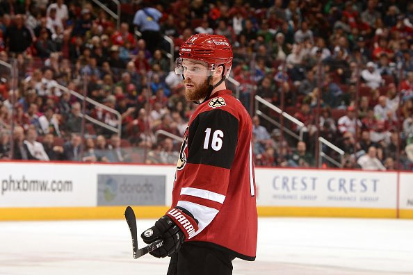 GLENDALE, AZ - FEBRUARY 09: Max Domi #16 of the Arizona Coyotes gets ready during a faceoff against the Montreal Canadiens at Gila River Arena on February 9, 2017 in Glendale, Arizona. (Photo by Norm Hall/NHLI via Getty Images)