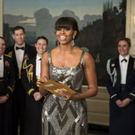 Michelle Obama awards Best Picture Oscar wearing Naeem Khan dress