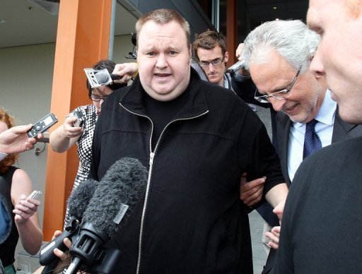"New Zealand-based Internet tycoon Kim Dotcom, pictured on February 22, 2012, claimed a ""massive"" response to his new file-sharing service launched Sunday, suggesting it could be the fastest growing start-up in history."