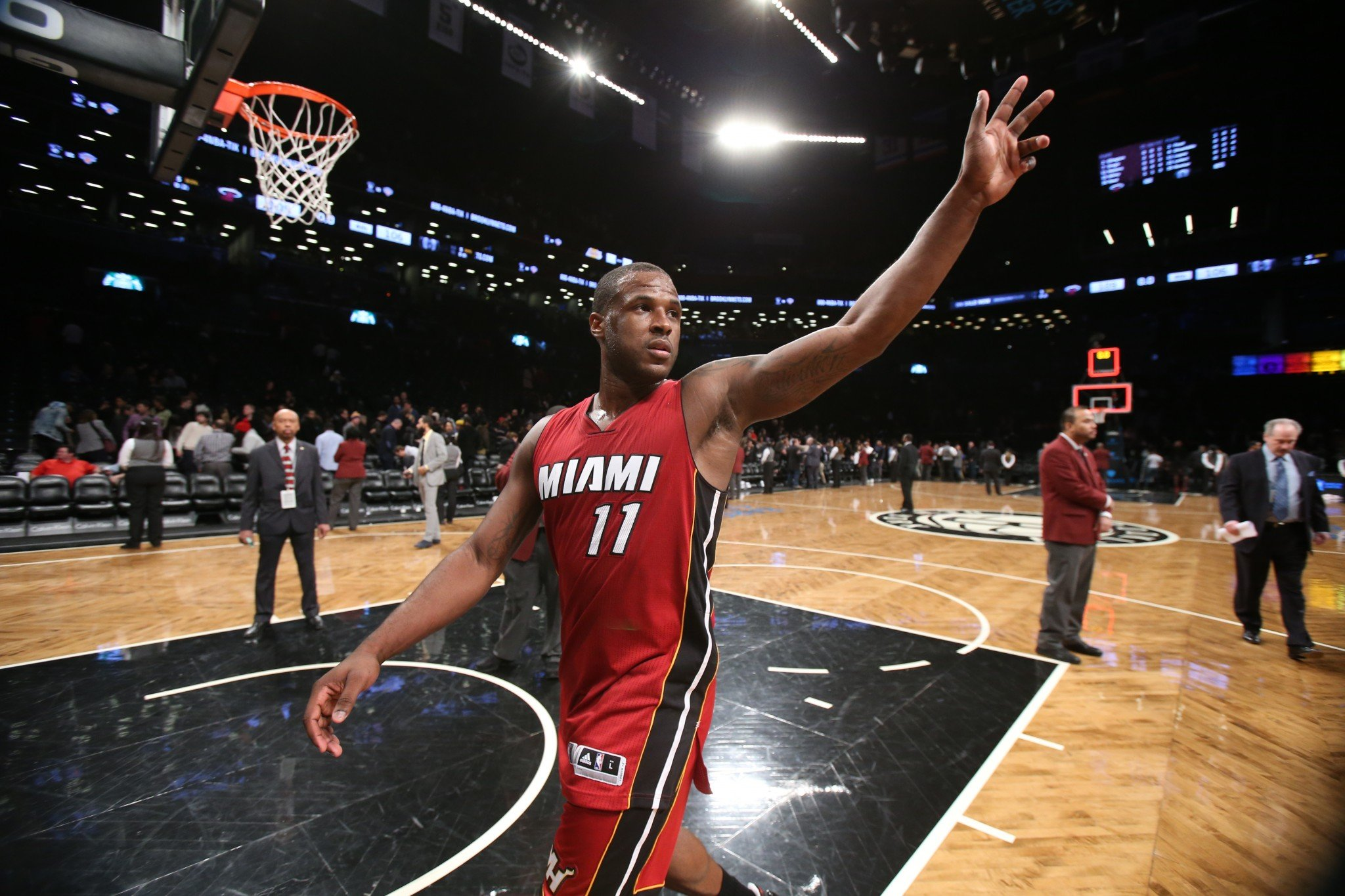 Dion Waiters waves to his adoring fans. (Getty Images)