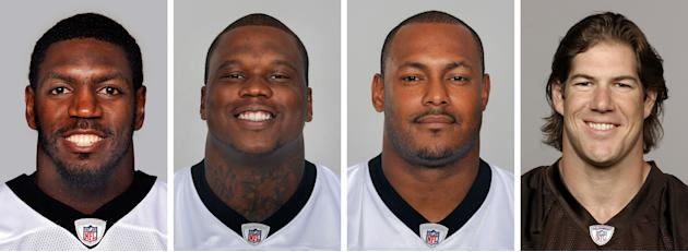 FILE - From left are NFL football players Jonathan Vilma, in 2011; Anthony Hargrove, in 2010; Will Smith, in 2011; and Scott Fujita, in 2011. The appeals hearing for four players suspended by NFL Comm