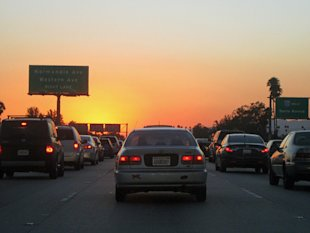 Don't get stuck in freeway traffic at sunset, like these Los Angeles drivers!