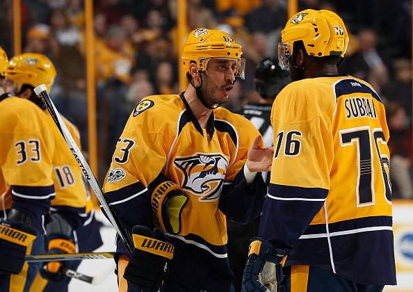 NASHVILLE, TN - JANUARY 24: Mike Ribeiro #63 talks with P.K. Subban #76 of the Nashville Predators after a whistle against the Buffalo Sabres during an NHL game at Bridgestone Arena on January 24, 2017 in Nashville, Tennessee. (Photo by John Russell/NHLI via Getty Images)
