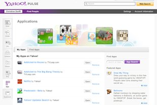 Yahoo! Pulse | Apps page for user, showing features Apps and user-selected Apps