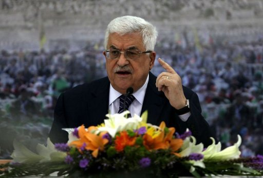 Palestinian president Mahmud Abbas delivers a speech in the West Bank city of Ramallah on November 16, 2012. Abbas Tuesday called on the international community to intervene urgently in support of Palestinian prisoners on hunger strike in Israeli jails