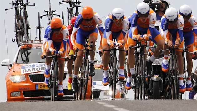 Netherland's Rabobank cycling team riders with compete in the 23 km team time-trial and second stage of the 2011 Tour de France cycling race run around Les Essarts, western France, on July 3, 2011.