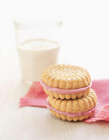 Strawberry Cream-–Filled Sandwich Cookies