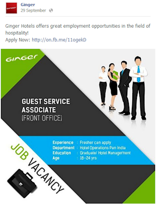Social Media Strategy Review: Hospitality Industry image Ginger Facebook Post