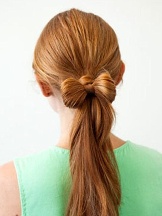 Bow on Pony: Who isn't bored of the plain old pony tail? This one gives your pony the cute look it requires, taking the boring factor out of it. For women who have thin hair, this will add some volume