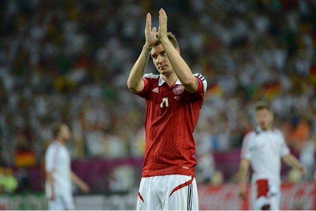 Danish Forward Nicklas Bendtner Reacts AFP/Getty Images