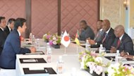 Japanese Prime Minister Shinzo Abe (L, front) and Mozambique President Armando Guebuza (R) hold a bilateral meeting ahead of the Tokyo International Conference on African Development (TICAD) in Yokohama, on May 31, 2013. Japan is to give $14 billion in aid to Africa over the next five years, Abe said on Saturday, as Tokyo seeks a slice of the potentially vast marketplace