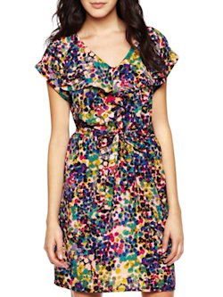 Short-Sleeve Print Dress