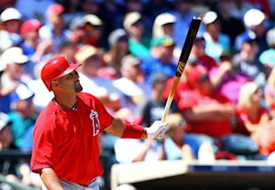 Albert Pujols connects against the Texas Rangers. (USAT)