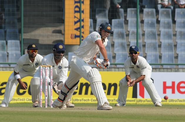 Peter Siddle in an action against India during the 4th Test of the Border-Gavaskar Trophy, at Ferozeshah Kotla Stadium in Delhi on March 23, 2013. P D Photo by P S Kanwar