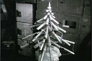 The first American Christmas holiday aboard a space station occurred in 1973 during the Skylab 4 mission to the first American space station Skylab. The station's three-man crew saved up their food cans to create this space Christmas tree.