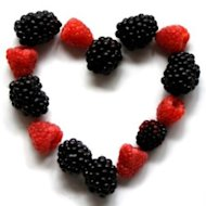 Healthy heart, festive berries, for a Valentine's Day family celebration.