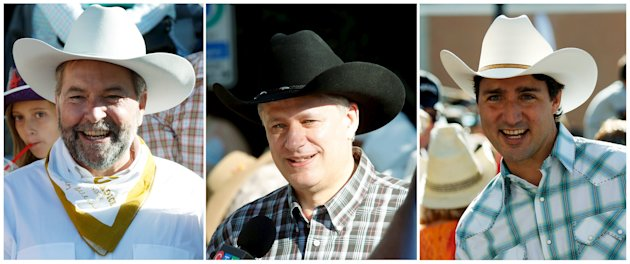 A combination picture shows New Democratic Party (NDP) leader Thomas Mulcair (L-R), Conservative Party leader and Canadian Prime Minister Stephen Harper and Liberal leader Justin Trudeau attending the Calgary Stampede in Calgary, Alberta, July 3, 2015. A federal election in which the three will lead their parties, is planned for later in the year. REUTERS/Todd Korol