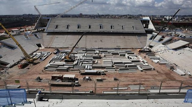 A general view of the New Corinthians Stadium, one of the venues for the 2014 World Cup undergoing construction, is seen in the Sao Paulo district of Itaquera