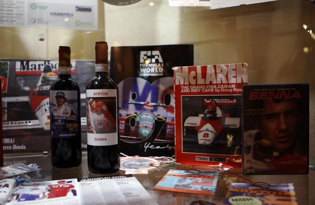Memorial items of Brazilian Formula One driver Ayrton Senna are displayed at Castello hotel, where Senna spent his last night in Castel San Pietro, near Imola race track