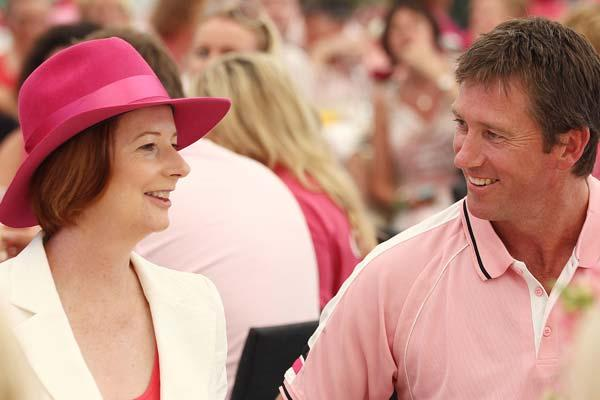 SYDNEY, AUSTRALIA - JANUARY 05:  Australian Prime Minister Julia Gillard chats to Glenn McGrath at a Jane McGrath High Tea during day three of the Second Test Match between Australia and India at Sydn