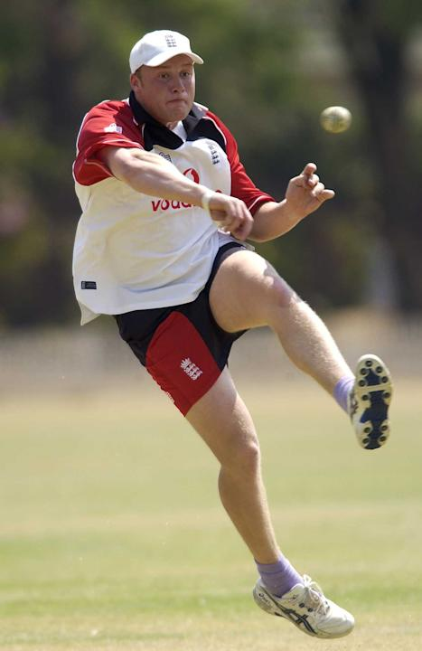 29 Sep 2001:  Andrew Flintoff of England in action fielding during the England nets session on the England One Day International tour to ZImbabwe, at the Alexander Sports Ground, Harare, Zimbabwe. DIG