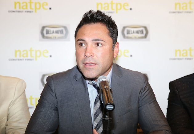 MIAMI BEACH, FL - JANUARY 21: Oscar De La Hoya attends Press Conference  for DE LA Hoya TV at  NATPE 2015 at Fontainebleau Miami Beach on January 21, 2015 in Miami Beach, Florida. (Photo by Aaron Davidson/Getty Images)