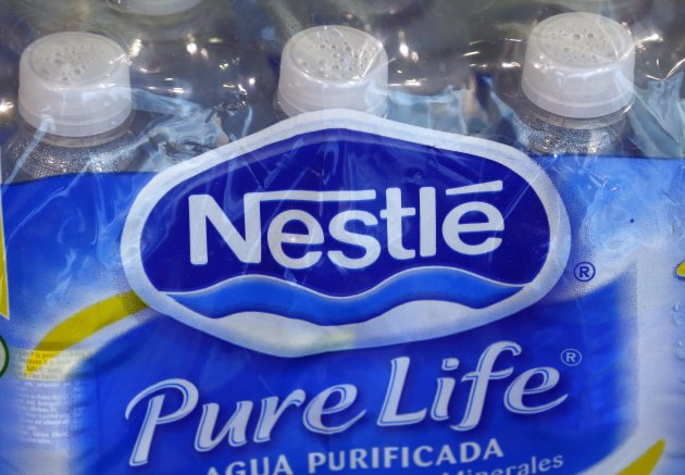 A pack of Nestle Pure Life bottled water is pictured in a showroom at the company headquarters. (Reuters)