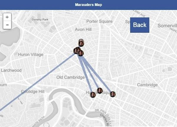 "The Chrome extension, dubbed ""Marauder's Map"" in a tongue-in-cheek nod to Harry Potter, harvests your friends' location data to map a history of their movements over time."