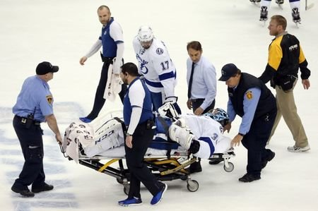 May 13, 2016; Pittsburgh, PA, USA; Tampa Bay Lightning goalie Ben Bishop (30) is taken off the ice on a stretcher after suffering an apparent injury against the Pittsburgh Penguins during the first period in game one of the Eastern Conference Final of the 2016 Stanley Cup Playoffs at the CONSOL Energy Center. Mandatory Credit: Charles LeClaire-USA TODAY Sports