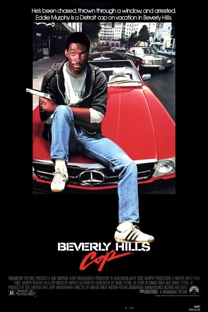 One Sheet movie poster advertises 'Beverly Hills Cop' (Paramount Pictures), starring Eddie Murphy, Judge Reinhold, John Ashton, Lisa Eilbacher, and Bronson Pinchot, 1984 -- Getty Images
