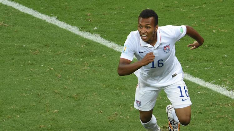 US midfielder Julian Green celebrates after scoring the 2-1 during a Round of 16 football match between Belgium and USA at Fonte Nova Arena in Salvador during the 2014 FIFA World Cup on July 1, 2014