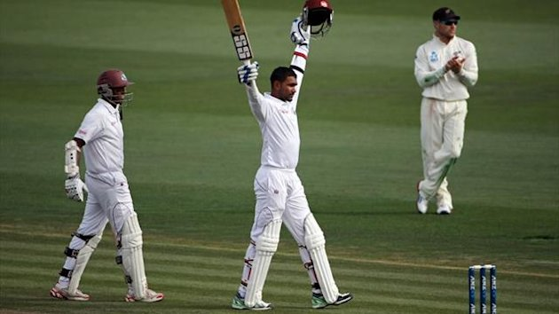 Denesh Ramdin of the West Indies (C) celebrates his century during day one of the third Test against New Zealand (AFP)