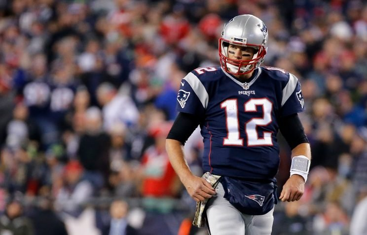 Tom Brady came up short at the goal line in a loss to the Seahawks on Sunday. (Getty Images)