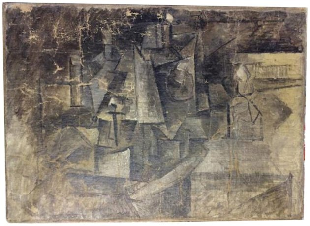 "This undated photo shows a cubist painting entitled ""The Hairdresser"" by Pablo Picasso. (AP)"
