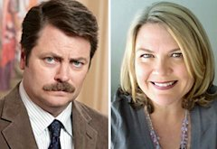 Nick Offerman and Paula Pell | Photo Credits: NBC; Paula Pell