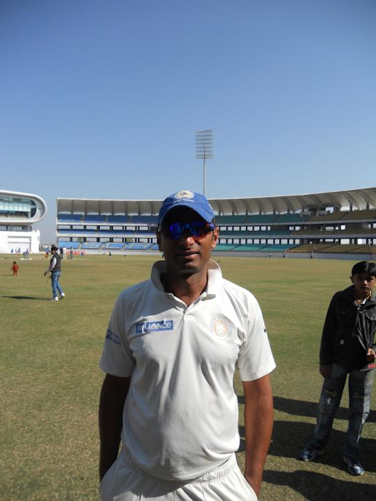 Shitanshu Kotak of Saurashtra during the Ranji Trophy semifinal against Punjab at the SCA Ground on January 20 2013. Photo by Skandan Sampath / Yahoo! Cricket