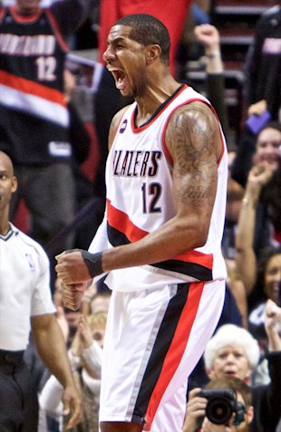 Feb 27, 2015; Portland, OR, USA; Portland Trail Blazers forward LaMarcus Aldridge (12) reacts after making a basket against the Oklahoma City Thunder during the fourth quarter at the Moda Center. (Craig Mitchelldyer-USA TODAY Sports)