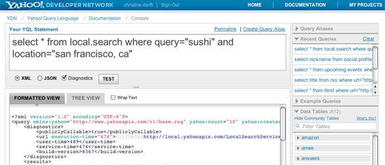 YQL Console showing Recent Queries