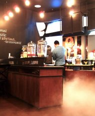 Misty: The white smoke from liquid nitrogen causes the ice cream shop to take on a dramatic feel. (