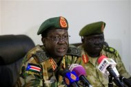 Chief of Staff of South Sudan's army, General James Hoth Mai speaks during a media update, with regards to the current fighting with rebels in north of the country, in Juba January 2, 2014. REUTERS/James Akena
