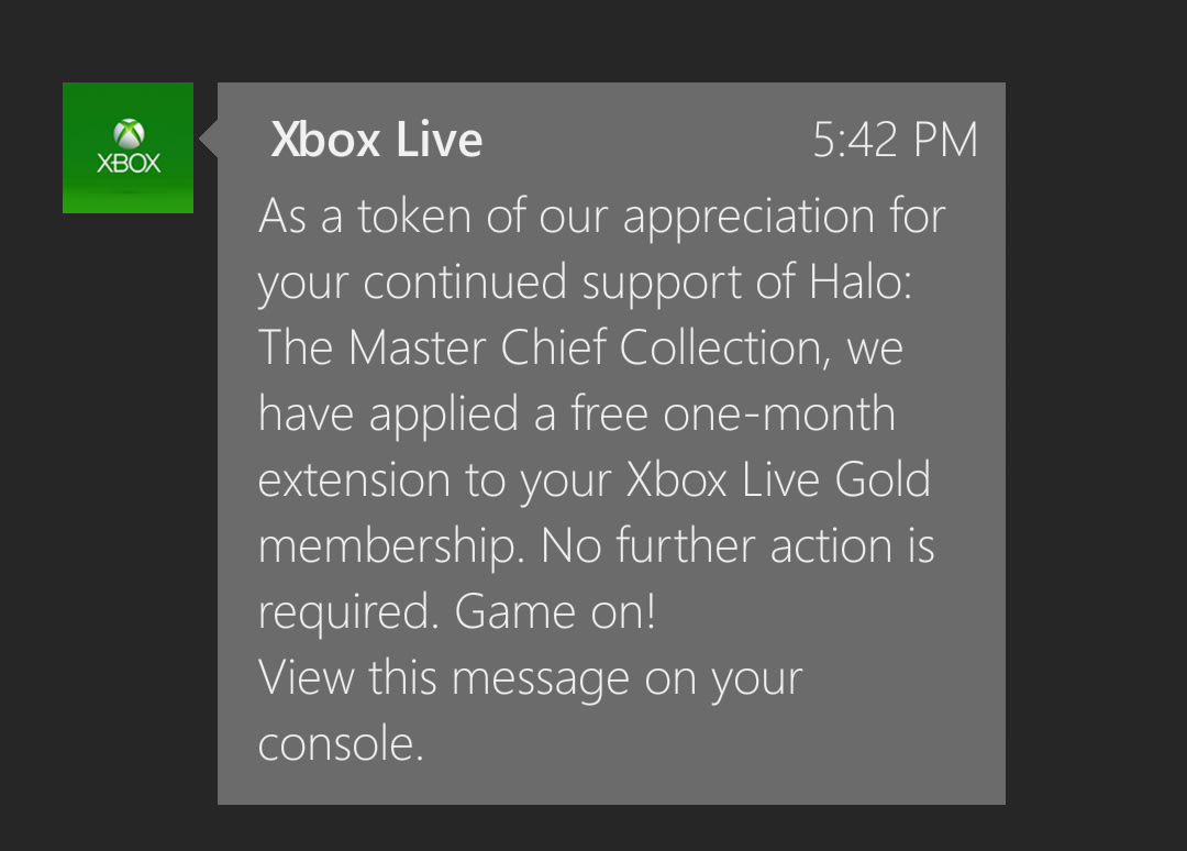 Free month of xbox live gold for halo master chief collection players