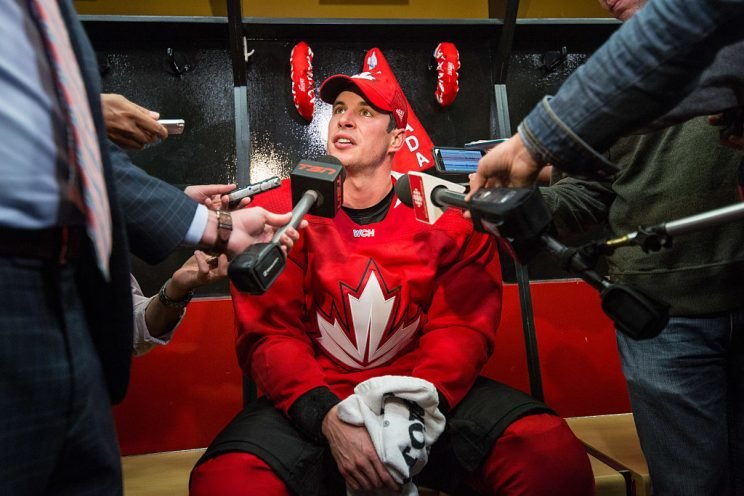 OTTAWA, ON - SEPTEMBER 12: Sidney Crosby #87 of Team Canada answers questions during media availability after practice in preparation for the World Cup of Hockey at Canadian Tire Centre on September 12, 2016 in Ottawa, Ontario, Canada. (Photo by Andre Ringuette/World Cup of Hockey via Getty Images)
