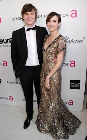 Evan Peters and Emma Roberts attend the 21st Annual Elton John AIDS Foundation Academy Awards Viewing Party at Pacific Design Center, West Hollywood, on February 24, 2013 -- Getty Images