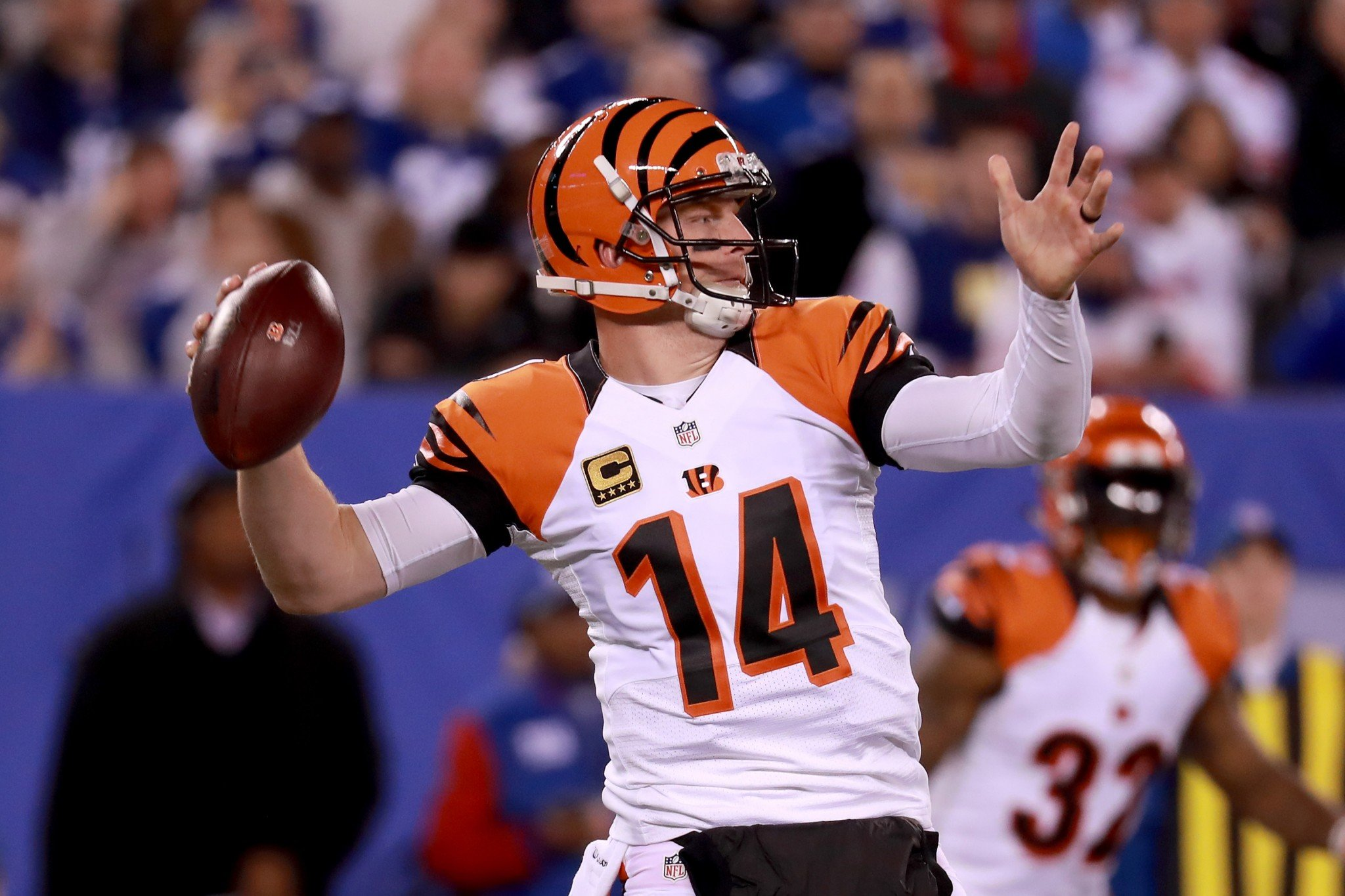 Andy Dalton and the Cincinnati Bengals caught the New York Giants napping with a fancy formation. (Getty Images)